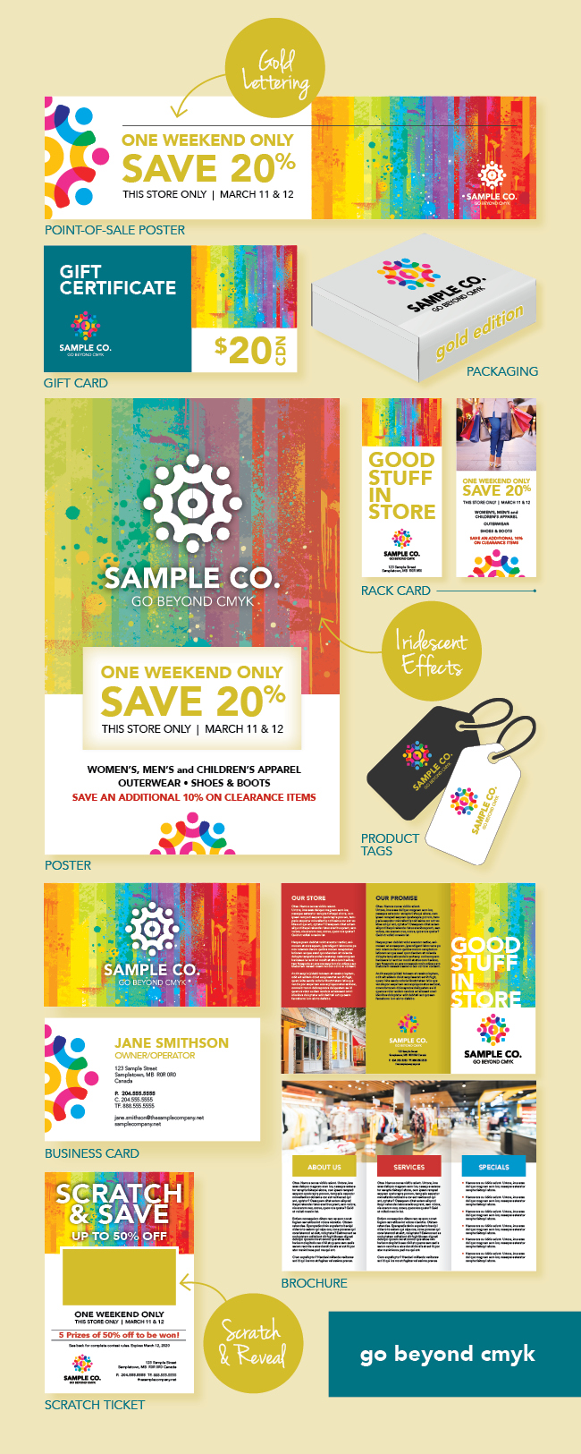 Samples of posters, brochures, product tags, scratch and reveal tickets, business cards and other stationery that can be printed using a gold metallic underlay.