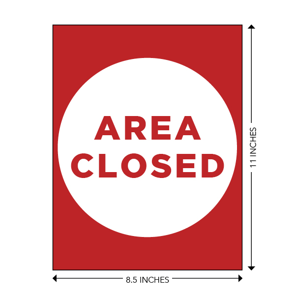 COVID-19 - School Signage - Area Closed (AREA-CLOSED-SM)