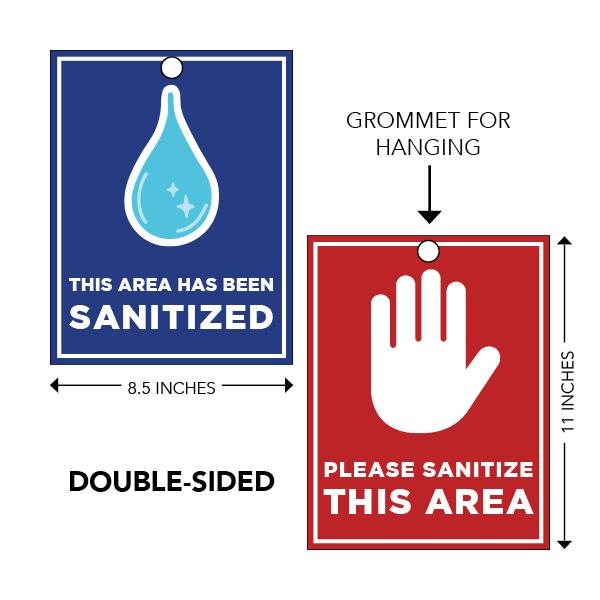 COVID-19 - School Signage - Area Has Been Sanitized - Flip Card (AREA-SANITIZED-FLIP)