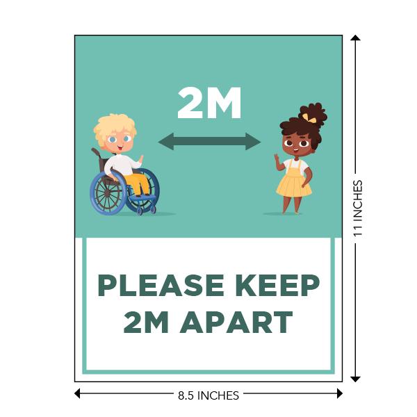 COVID-19 - School Signage - Please Keep 2M Apart (ELEM-2M-APART-SM))