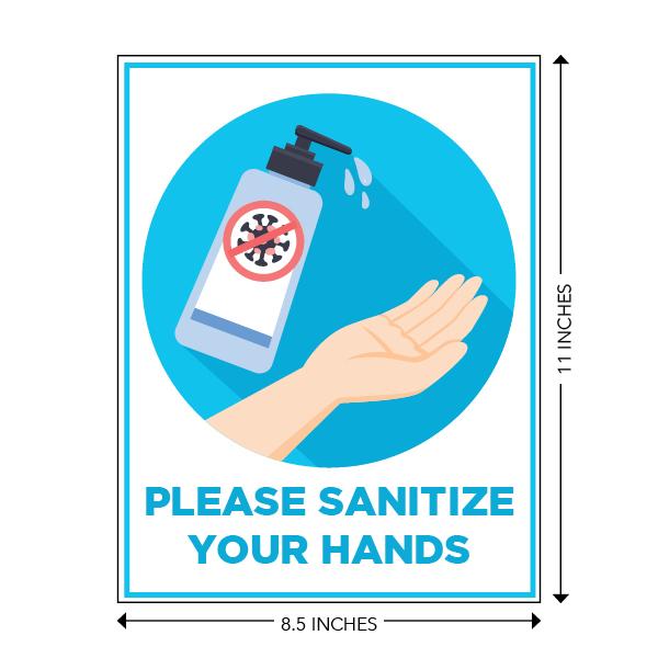COVID-19 - School Signage - Please Sanitize Your Hands (SANITIZE-HANDS-SM)
