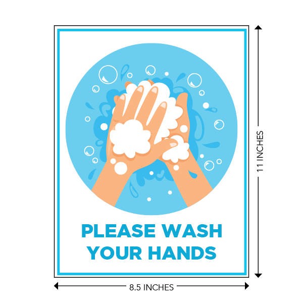 COVID-19 - School Signage - Please Wash Your Hands (WASH-HANDS-SM)