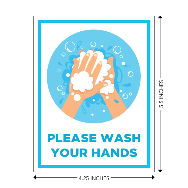 COVID-19 - School Signage - Please Wash Your Hands (WASH-HANDS-STICKER)
