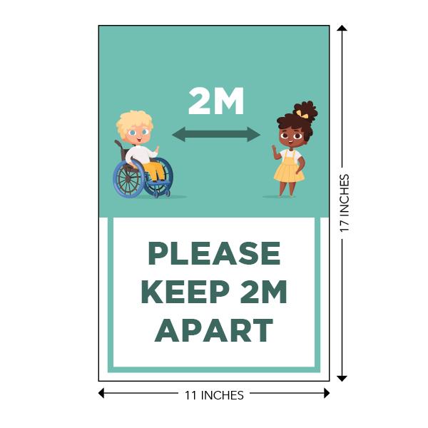 COVID-19 - School Signage - Please Keep 2M Apart (ELEM-2M-APART-LG)